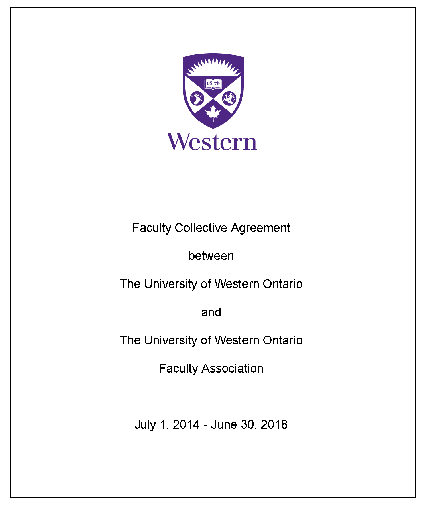 Collective Agreement Western University