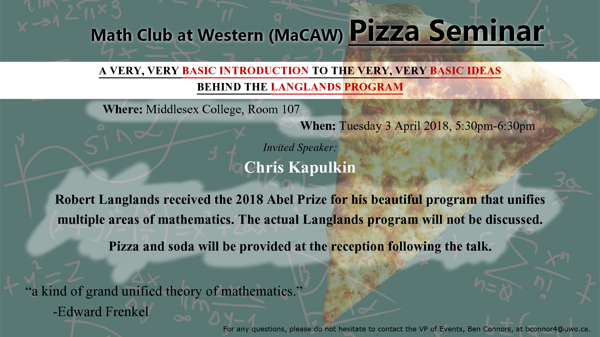 Events - Math Club At Western (MaCAW) - Department of Mathematics ...