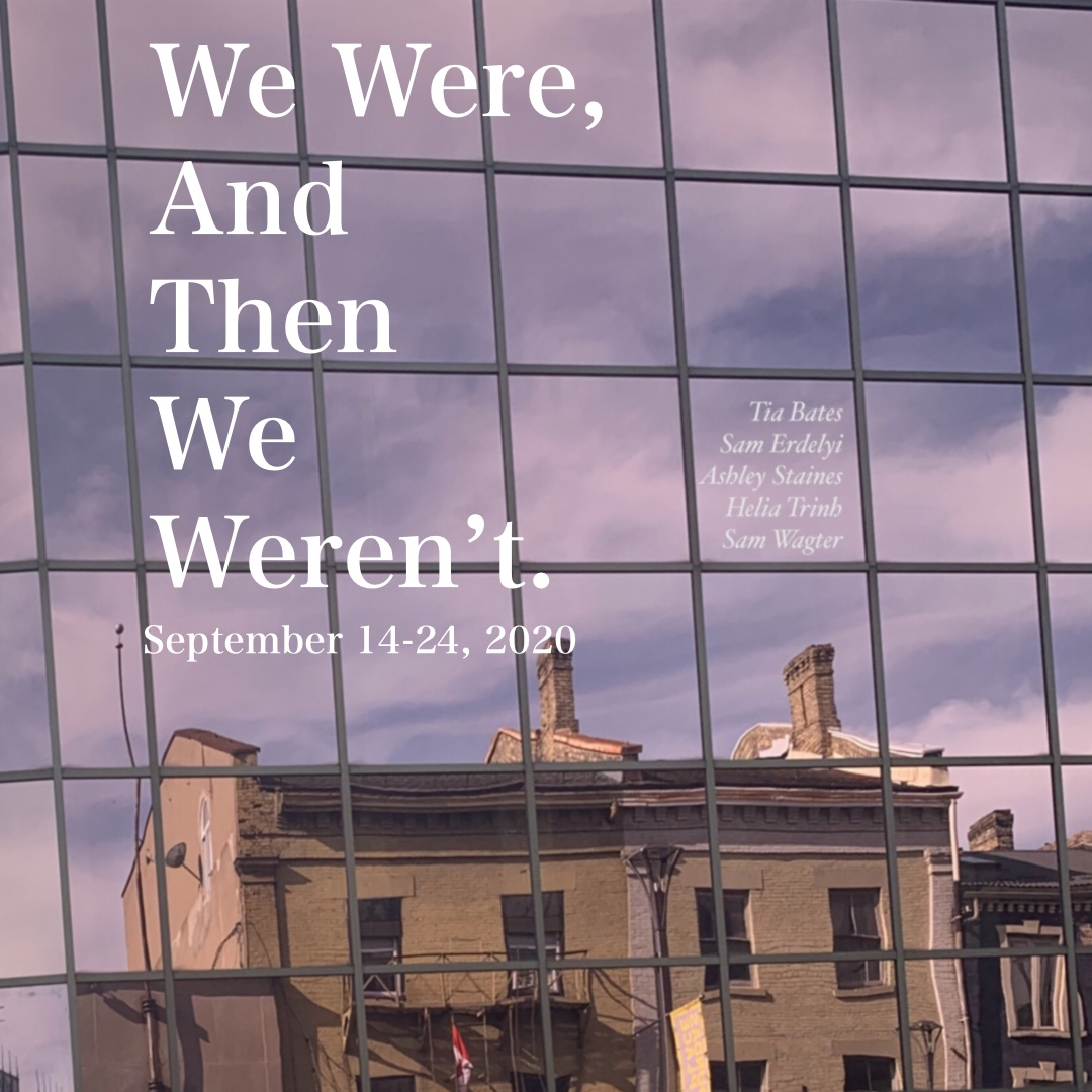 Banner image for We Were and Then We Weren't showing a violet sky reflected in skyscraper windows