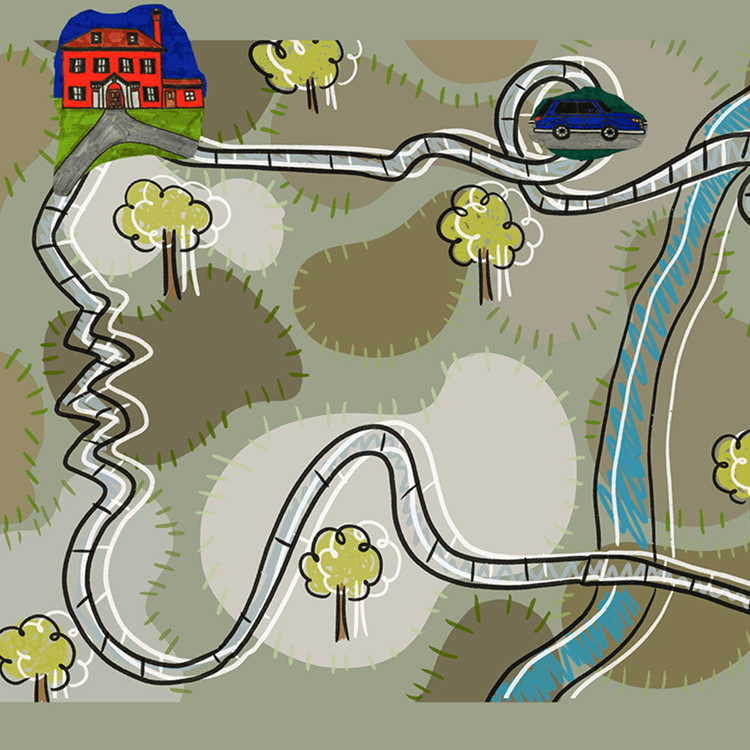 Image grabbed from student-built website showing a hand-drawn map with a house, car, road and trees